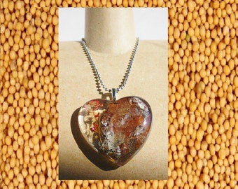 Wood and Flower Mustard Seed necklace