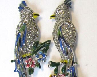 1940s Love Bird Cockatoo Rhinestone DUETTE Clip Mate Brooch Pin~PartialOne Half