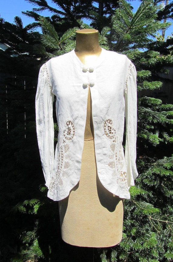 Antique Edwardian Victorian White Linen Jacket Dra