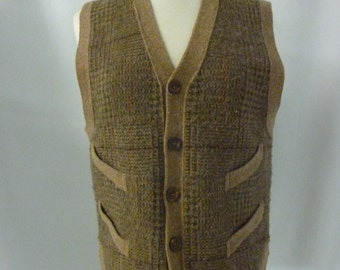 Vintage Polo Camel & Green Glen Plaid 5 Button Wool Sweater Vest