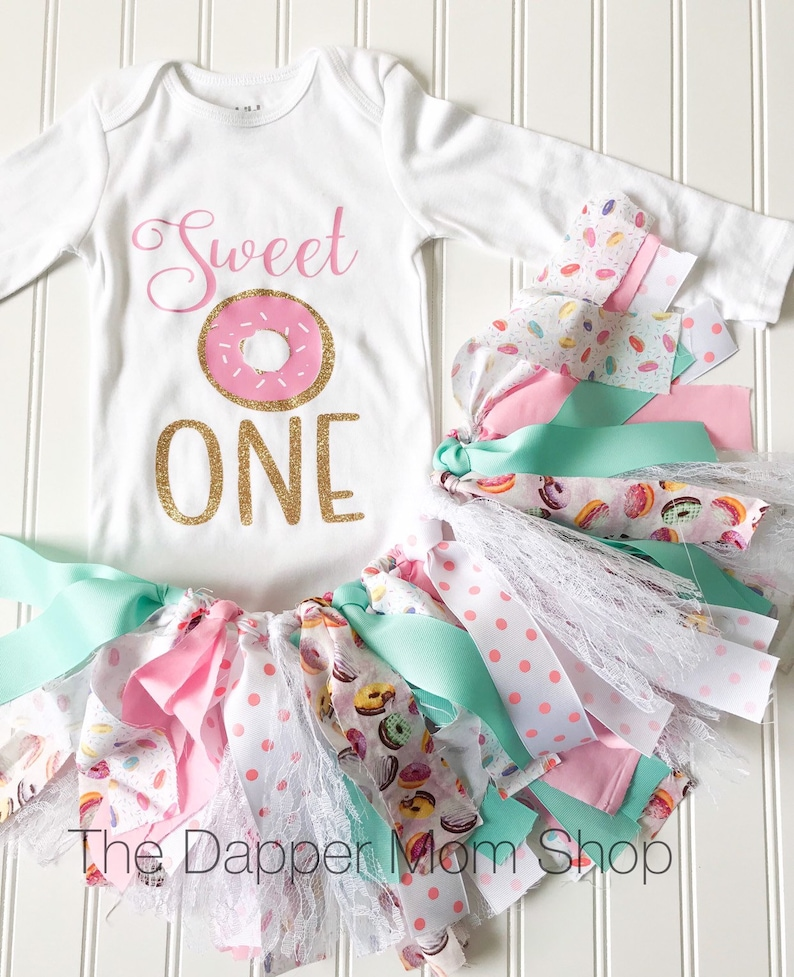 c1b969ab9a Donut Party Birthday Outfit Baby Girl 1st Birthday