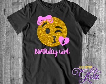Emoji Birthday Shirt Kiss Girls Youth Wink Face Blowing