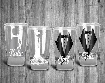 8 - Wedding Party Shot Glass Wedding Shot Glasses. Groom/Bridesmaid gift idea. Tuxedo and Bridesmaid. Bride Groom Groomsmen. Gift idea. & Bridesmaid groomsmen | Etsy