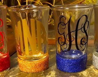 Glittered Shot Glasses ~ Glitter Shot Glass, Personalized, Monogram Shot Glass, bridesmaid gift, Wedding, Birthday, Office Gift
