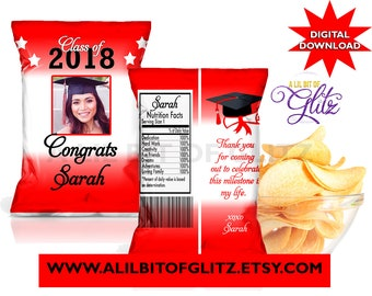 Graduation Chip Bag Treat Bag ~ Custom Colors ~ Digital Download ~ I DESIGN, YOU print. Not Instant.