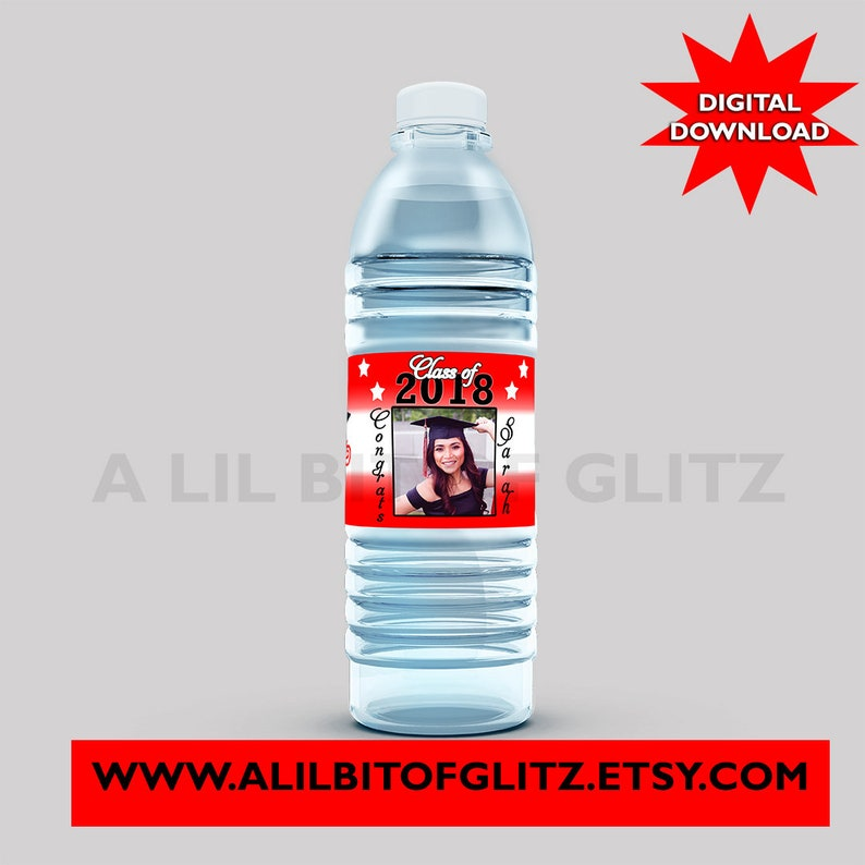 Not Instant. Graduation Water Bottle Labels ~ Custom Colors ~ Digital Download ~ I DESIGN YOU print
