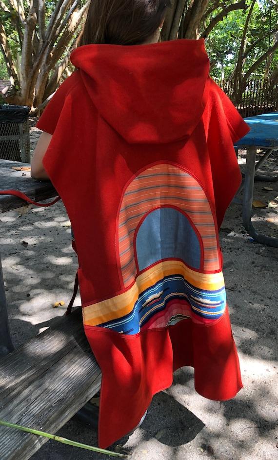 Rare Vintage boho embroidered sunset poncho - image 6