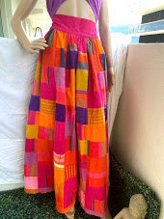 Vintage colorful Patchwork Long skirt