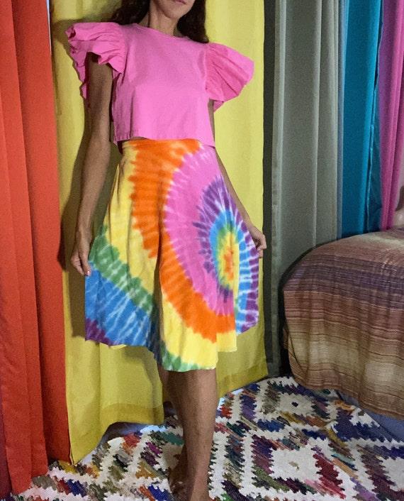 Vintage boho hippie Tie Dye wrap skirt