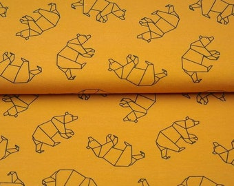 8a0afca1964 Geometric Bear in Mustard BIO Cotton Jersey - Lilly and Mimi Fabric Shop UK