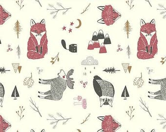 a4c4296a301 Woodland Animals in Mauve or Mustard Organic Cotton Jersey - Lilly and Mimi  Fabric Shop UK
