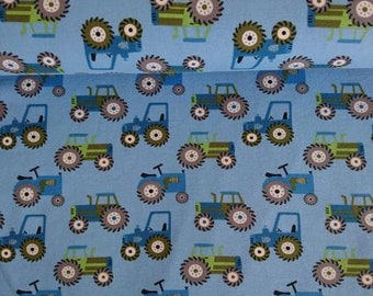 205929f1f7f Green and Blue Tractor in Blue Cotton Jersey- Lilly and Mimi Fabric Shop UK
