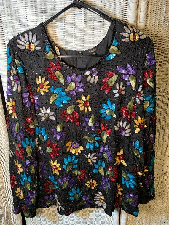Vintage Avalon Beaded Silk Long Sleeve Evening Top