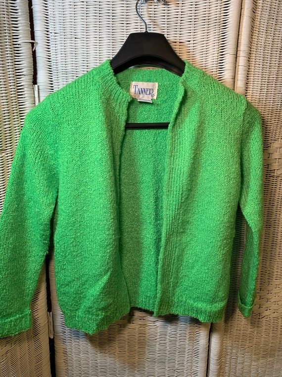 Vintage Neon Green Acrylic Open Sweater