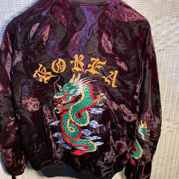 Vintage Korea Dragon Red Velvet Bomber Jacket