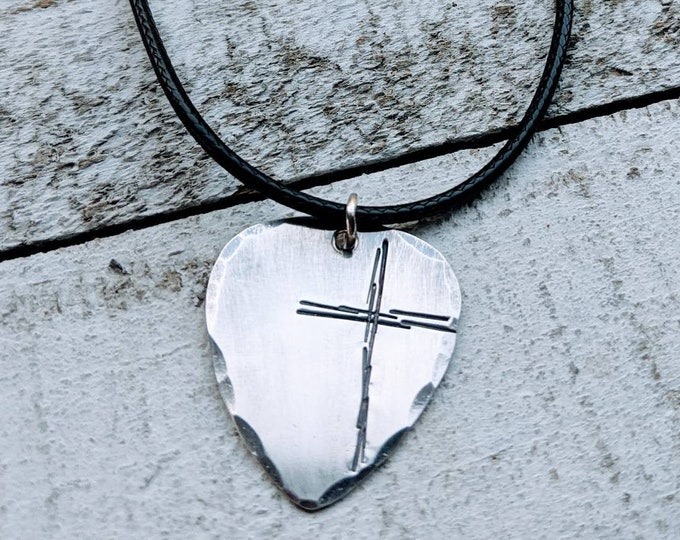 Rugged cross necklace. Hand Stamped Guitar Pick/ Sterling Silver/ Christian gift. Gift for Him. Men's necklace.