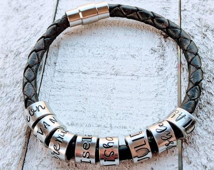 Stamped woven bracelet for women. Leather bracelet. Kids names. Mother's Day. Mom Bracelet.