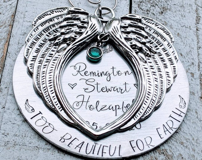 Too Beautiful for Earth. Hand stamped memorial ornament. Baby Loss. Stillborn. Infant Death. Death of child. Forever in our heart
