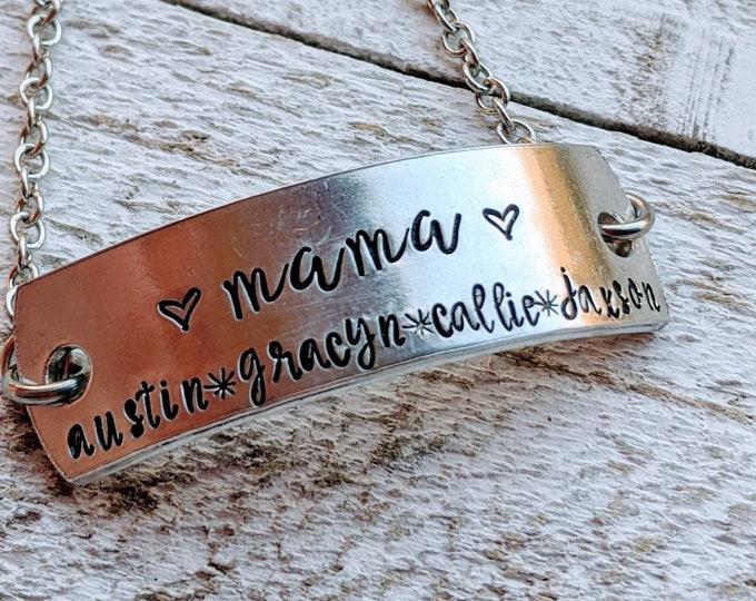 Kids Name bracelet. Hand stamped bracelet. Children. Kid's names. Mama bracelet. Gift for mom. Mother's day.