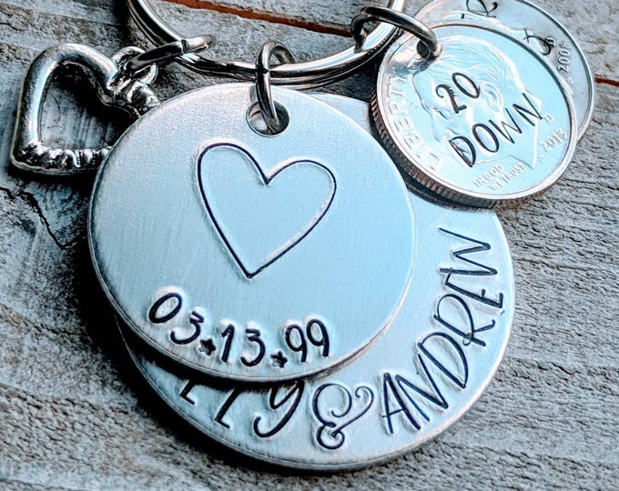 20th anniversary! 20 Down, Forever to Go! Couple's gift keychain, Gift for him. 20 Year Anniversary. Married 20 years