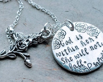 Psalm 46:5 God is within her. She will not fall...sterling silver necklace. Christian Jewelry, Baptism Gift, Cancer, Strength, Struggle