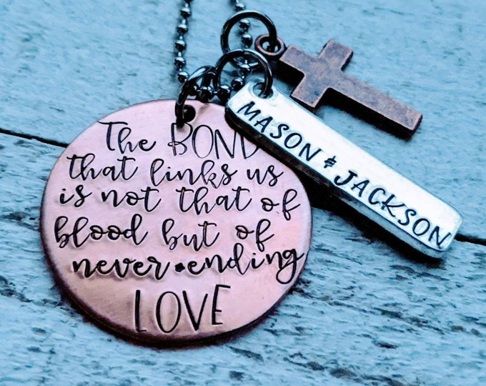 StepSon Personalized Hand Stamped Necklace. Gift for step-son. Step-parent. Stepdad. Blended family. Adoption. Foster son. Son in law gift