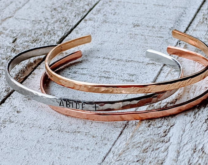 Word of the year stacking cuffs. 2021 word. Stacking Bangles. Mixed metal cuffs. Minimalist jewelry. Skinny bangle.