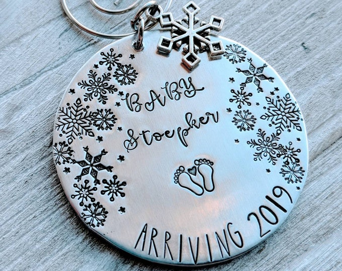 Pregnancy announcement/ Baby announcement/ Stamped Ornament. Surprise pregnancy. Grandma grandpa to be. Parents to be. Baby arriving.