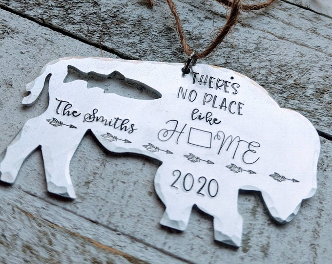 Wyoming. Bison ornament. Christmas Ornament. Hand stamped ornament. Wyo. Wyhomeing. Trout. Buffalo.
