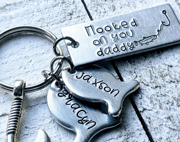 Hooked on you daddy Keychain. Gift for husband. Father's day. Dad's birthday. Fisherman husband. Fishing. Fish. Hooks