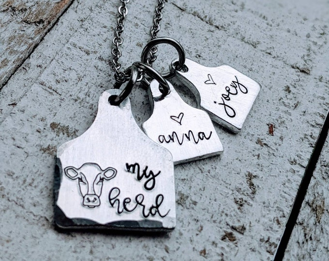 Ear Tag necklace Cow Cattle My Herd. 4H. Agriculture. Grandma necklace. Farming Jewelry.