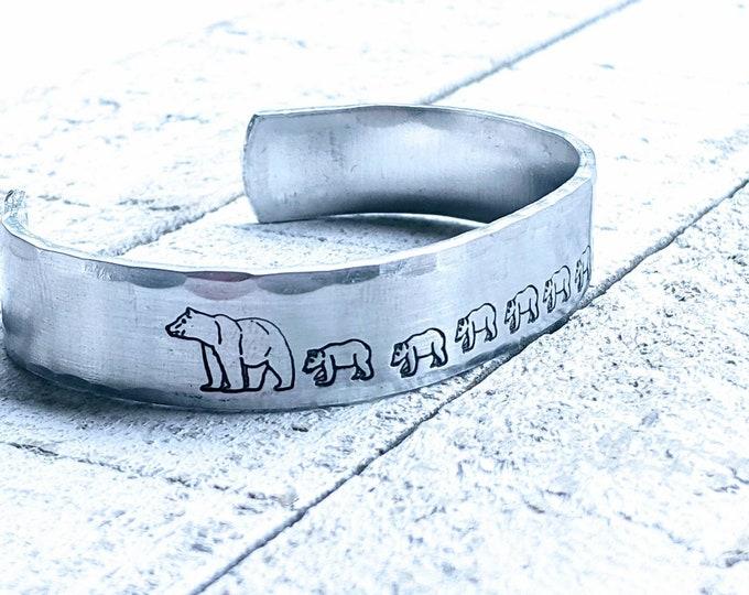 Mama Bracelet. Mama bear. Mother's Day. Mom bracelet. Bear jewelry.