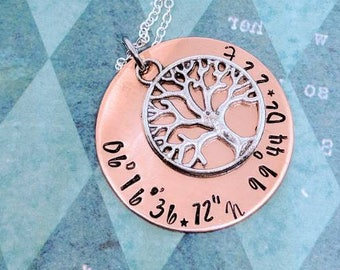 Latitude Longitude Coordinates Necklace. Family Tree. Gift for her. Couple gift. Anniversary. Where we met.
