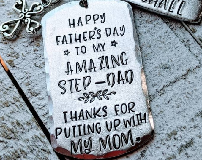 Step-Dad Keychain. Gift for bonus dad. Step-dad. 2nd dad. Second daddy. Blended family. Father's day. Putting up with my mom.