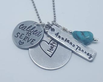 Missionary mom necklace. LDS. Morning. Mission. Called to serve. Hand Stamped necklace.
