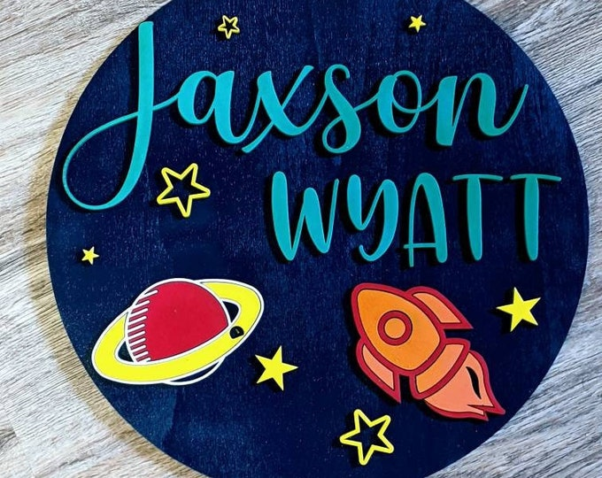 Large Custom Wood Sign. Sign for kid's room. Nursery sign. Wall decor. Wood sign. Space sign. Boy bedroom.