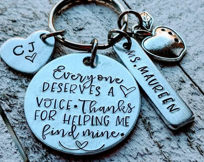 Teacher Appreciation Keychain. Everyone deserves a voice. Thanks for helping me find mine. Preschool. Educator gift. End of year gift.