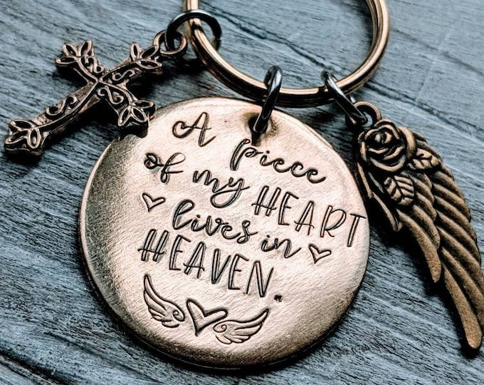 A piece of my heart lives in heaven. Lost Mom. Death of mother. Memorial keychain. Lost family member Death of Parent. Lost parent.