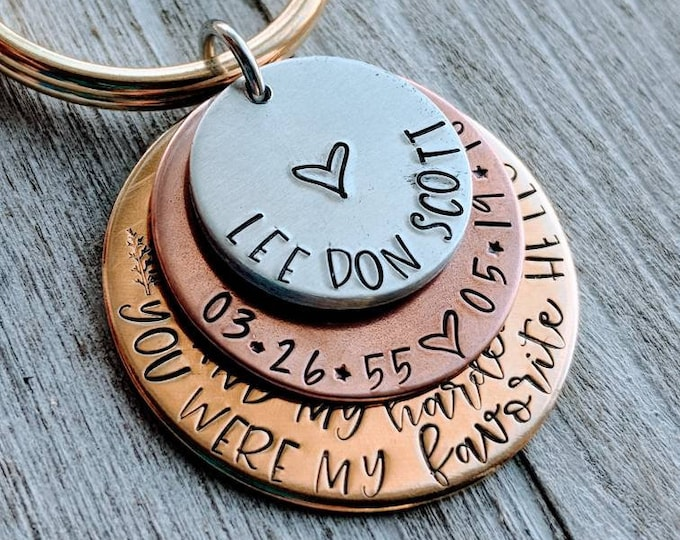 Favorite hello. Hardest goodbye. Memorial key chain. Death. Heaven. Hand stamped keychain. Loss of dad. Loss of mom. Loss of child.