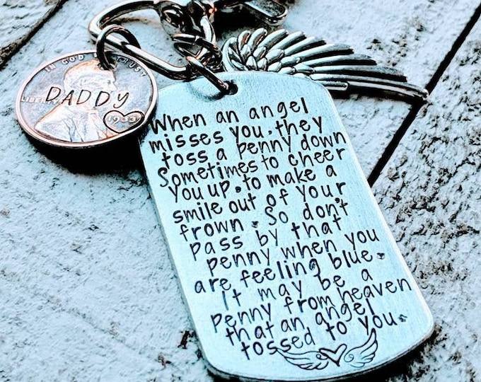 Angel misses you. Penny poem. My Angel. Toss a penny. Lost parent. Death of a loved one.