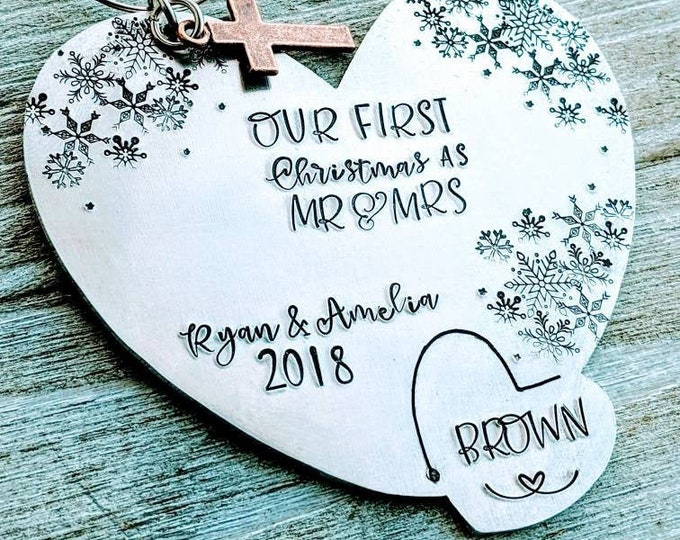 Couple ornament/ first Christmas/ Newlyweds ornament/ married Christmas/ Mr and Mrs/ First Christmas Married