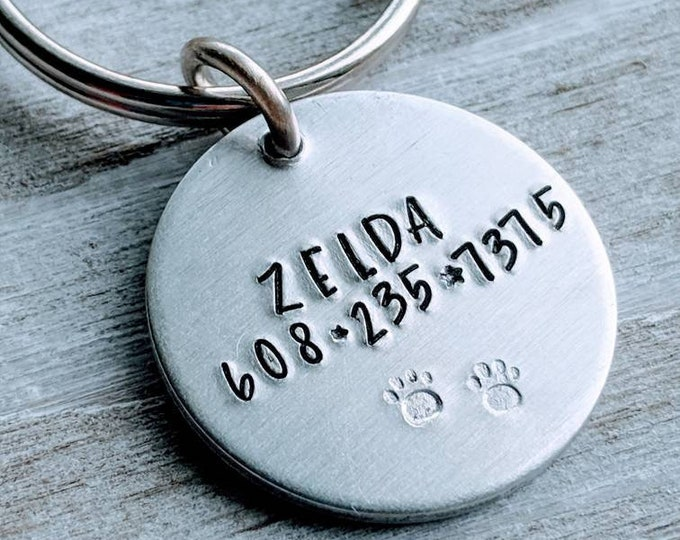 Pet ID Name tag with paw stamp. Pet I.D. Tag. Lost Pet. Pet Name Tag. Dog Tag.