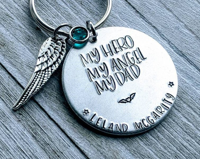 My Hero, My Angel, My Dad, Memorial Keychain. Lost Daddy, Lost Father. Death of Dad. Gift for child. Lost parent.
