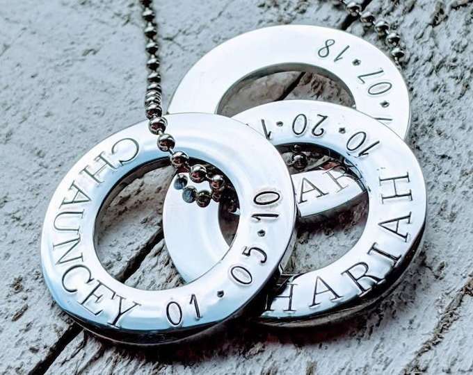 Dad washer necklace. Stainless steel. Dad gift. Father's day. Gift for a dad. Dad birthday. Men's necklace.