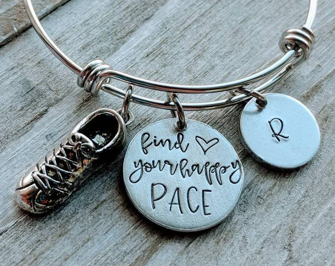 Find your happy pace. Runner Keychain. Cross Country. Workout. Fitness. Runner. Marathon runner. Strength. Tennis shoes.