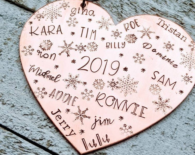 Family Christmas. Hand Stamped Heart Ornament. Christmas Spirit. Holiday Ornament. Family Names. Christmas 2021. Copper. Grandma gift.
