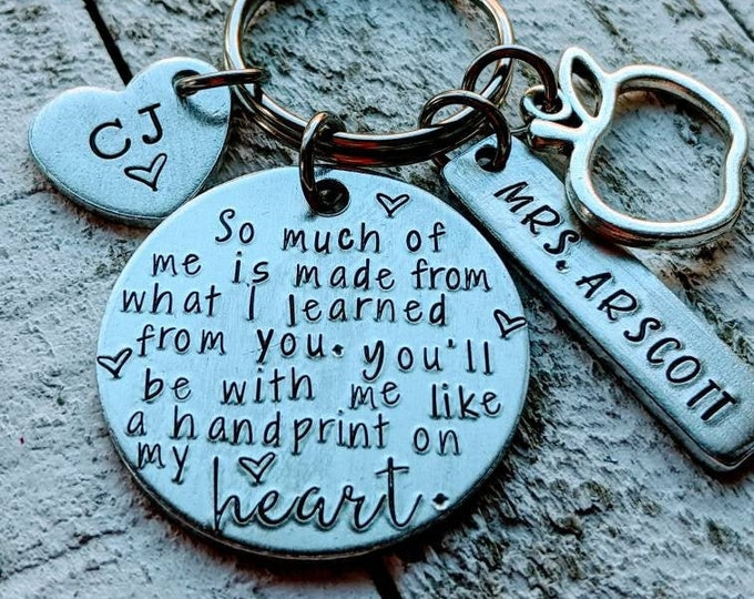 Teacher keychain. Wicked. Glinda the good witch. Educator gift. End of year gift. Handprint on my heart.
