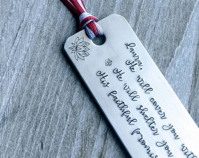 Psalm 91. Bible verse. Christian gift. Godly woman. Armor and protection. Hand stamped bookmark. book lover. Cover you with his feathers.