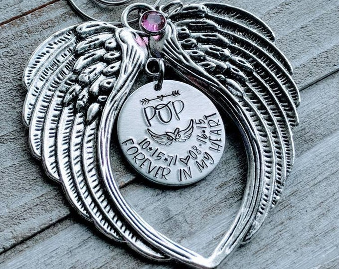 Memorial Angel Ornament. Hand Stamped Christmas Ornament. Forever in my heart. Angel wings. Grandpa. Grandad. Gramps. Pop. Papa. Loss.
