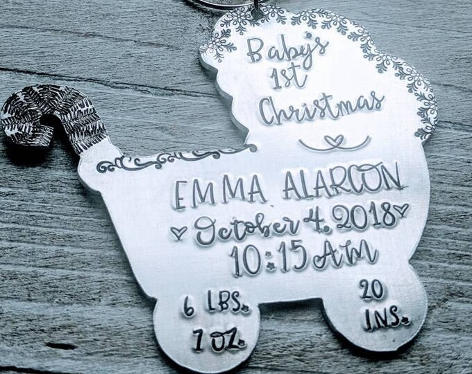 Baby's First Christmas. Baby buggy ornament. Stroller. Hand Stamped Ornament. Baby gift. Baby ornament.